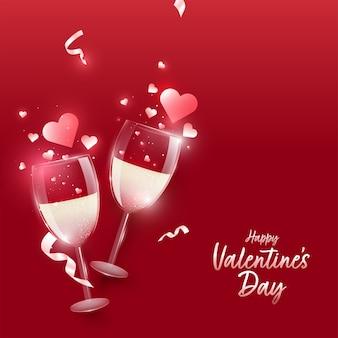 Conceito de feliz dia dos namorados com copos de vinho realistas e corações em fundo vermelho Vetor Premium