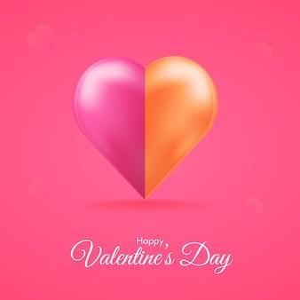 Conceito de feliz dia dos namorados com coração brilhante 3d