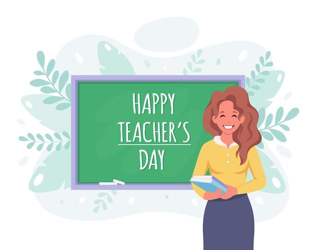 Conceito de feliz dia dos professores professora em sala de aula