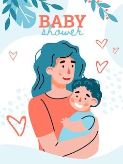 Conceito de feliz maternidade e paternidade. jovem mulher abraça o filho pequeno.