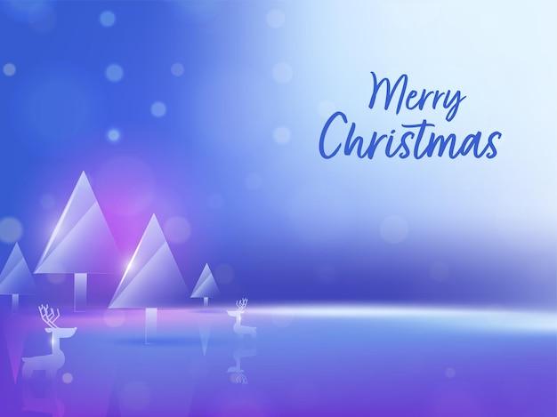Conceito de feliz natal com árvores de natal de cristal ou vidro, renas sobre fundo azul brilhante.