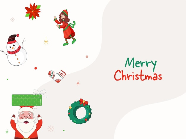 Conceito de feliz natal com papai noel engraçado, grinalda decorativa, boneco de neve e menina alegre em fundo branco.