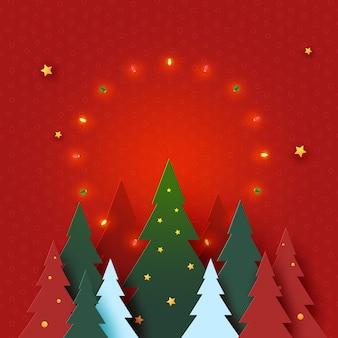 Conceito de feliz natal e feliz ano novo decorado com a luz da árvore de natal e estrelas no fundo vermelho arte em papel