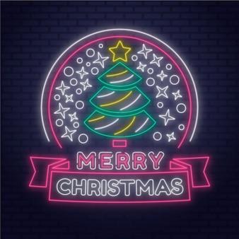 Conceito de feliz natal neon
