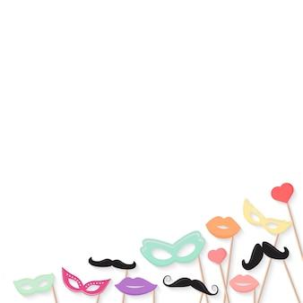 Conceito de feriado de purim com máscara de carnaval de papelão