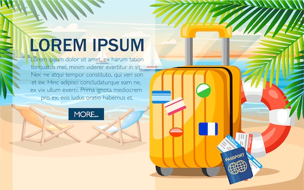 Conceito de férias de verão. bagagem amarela, passaporte, bilhete na praia de verão. estilo . ilustração no fundo da praia com folhas de palmeira verdes. lugar para o seu texto