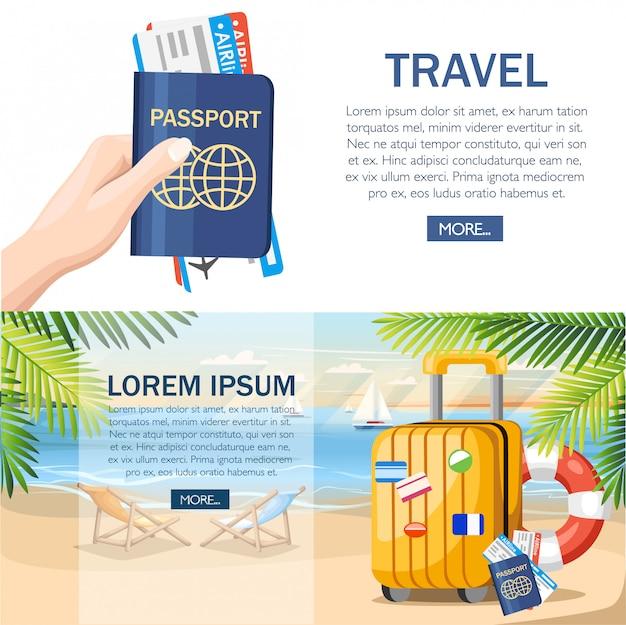 Conceito de férias de verão. bagagem amarela, passaporte, bilhete na praia de verão. estilo . ilustração no fundo da praia com folhas de palmeira verdes. página do site e design do aplicativo móvel