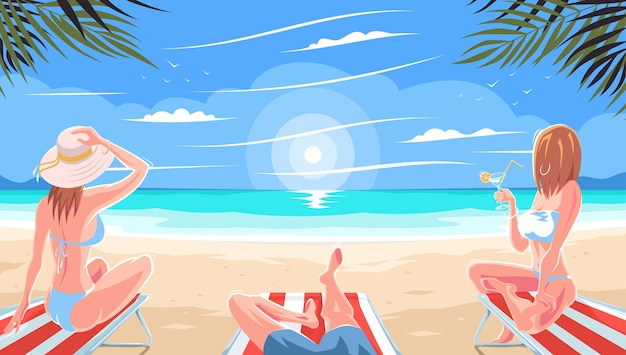 Conceito de férias de verão na praia. um homem com mulheres em um maiô ilumina-se sentado em uma espreguiçadeira em um mar ou praia oceânica. lindas garotas relaxam sob a palmeira. praia com palmeiras.