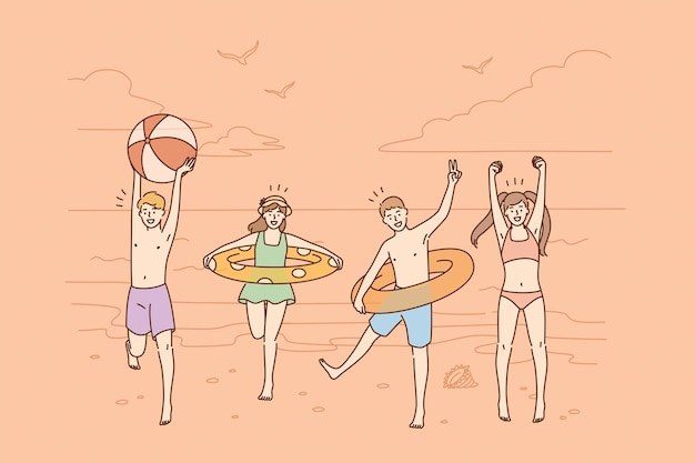 Conceito de férias e atividades de verão.