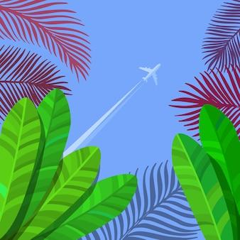 Conceito de férias. folhas de palmeira tropical no céu com avião. fundo do vetor.