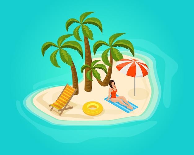 Conceito de férias isométricas na ilha