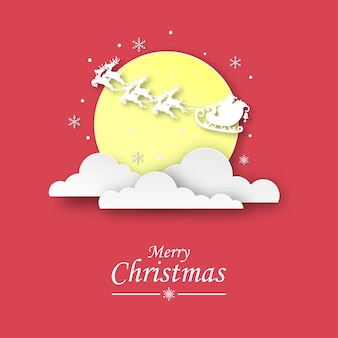 Conceito de férias. papai noel na nuvem com a lua. feliz ano novo e feliz natal em papel art. estilo de cartão comemorativo e corte de papel