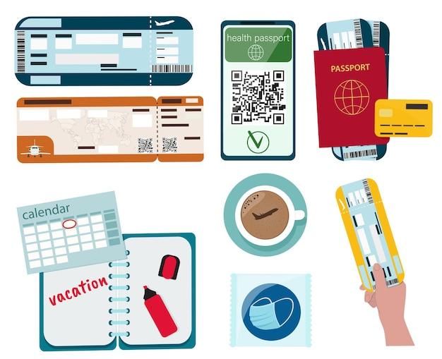 Conceito de férias. passaporte, passagem aérea, calendário, máscara médica, passaporte médico.