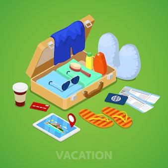 Conceito de férias viagens isométricas. mala com passaporte, ingressos e roupas de verão. ilustração 3d plana vetorial