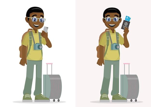 Conceito de férias viajando com bagagem e segurando passaporte