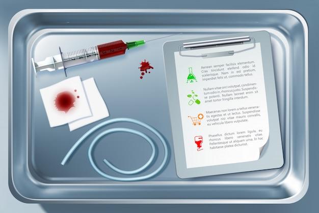 Conceito de ferramenta médica com torniquete de bloco de notas de bandagem suringe no esterilizador depois de tomar o procedimento de sangue