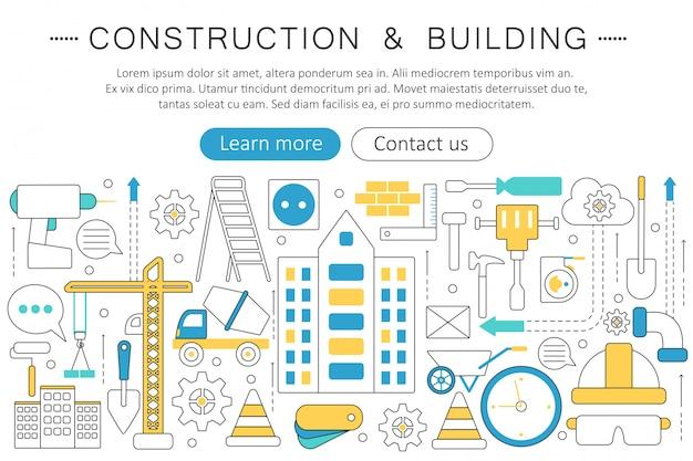Conceito de ferramentas de construção e construção