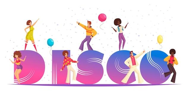 Conceito de festa discoteca com ilustração plana de símbolos de celebração retrô