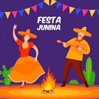 Conceito de festa junina de design plano