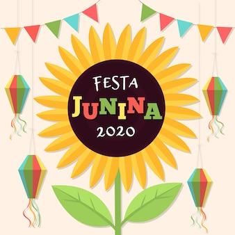 Conceito de festa junina desenhados à mão