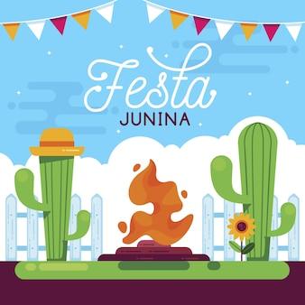 Conceito de festa junina plana