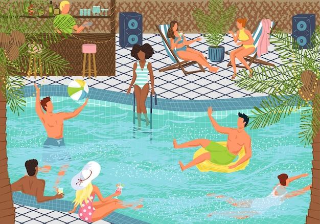 Conceito de festa na piscina ilustração vetorial ilustração design