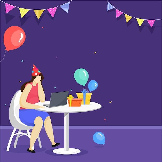 Conceito de festa online Vetor Premium