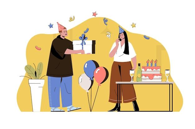 Conceito de festa surpresa homem dando uma caixa de presente para um casal de mulheres em evento festivo