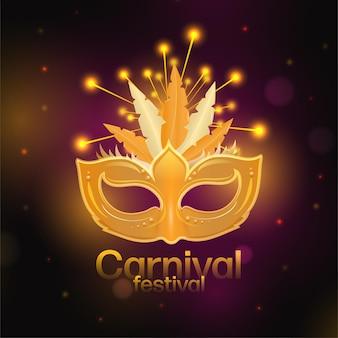 Conceito de festival de carnaval com máscara de ouro no fundo de efeito de luzes