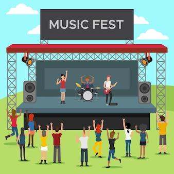 Conceito de festival de música ao ar livre