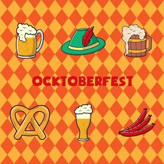 Conceito de festival de octoberfest. projeto da ilustração colorida do vetor vintage.
