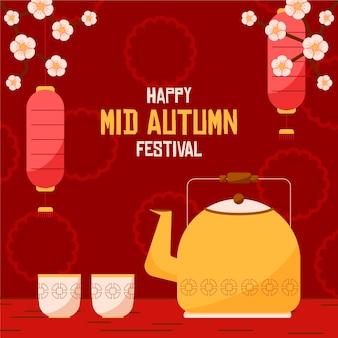 Conceito de festival de outono em design plano
