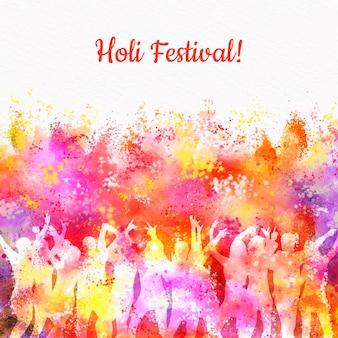 Conceito de festival holi aquarela