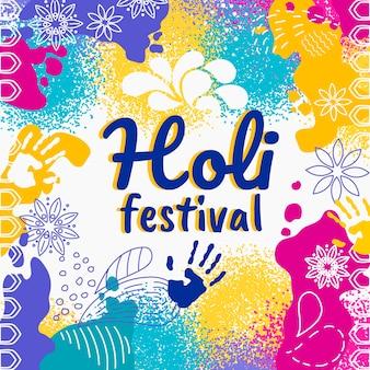 Conceito de festival holi desenhados à mão