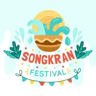 Conceito de festival songkran desenhados à mão