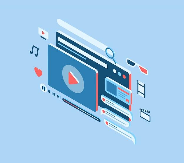 Conceito de filme de streaming on-line com vários ícones e estilo isométrico