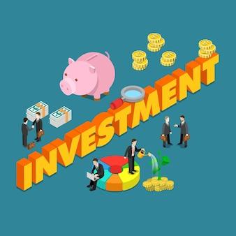 Conceito de finanças de negócios de investimento de estilo plano isométrico
