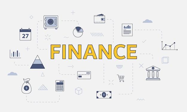 Conceito de finanças empresariais com conjunto de ícones com grande palavra ou texto na ilustração vetorial central