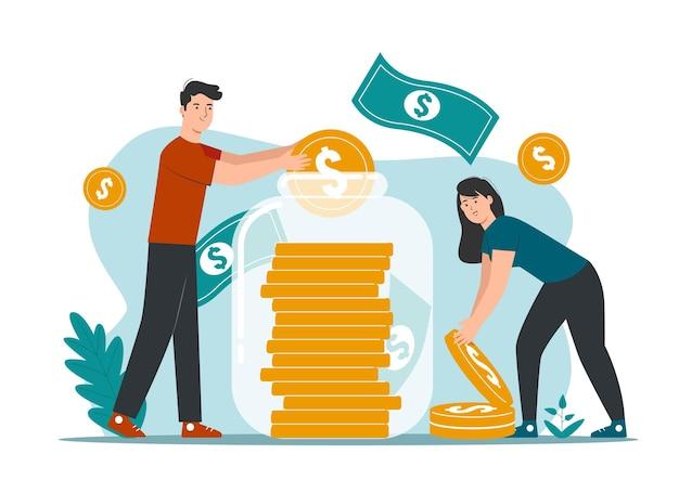 Conceito de finanças, poupança e investimento