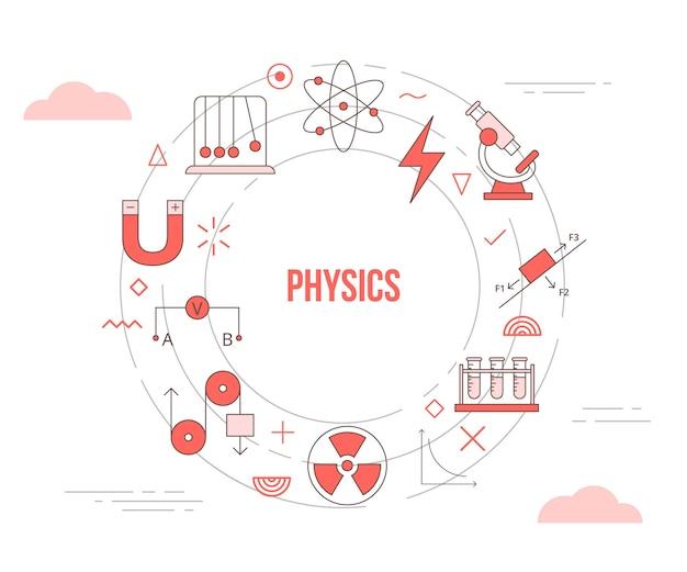 Conceito de física com banner de modelo de conjunto de ícones com estilo moderno de cor laranja e ilustração de formato circular