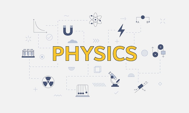 Conceito de física com conjunto de ícones com grande palavra ou texto na ilustração vetorial central