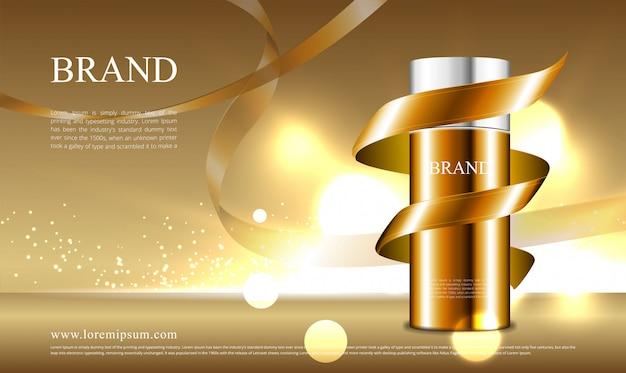 Conceito de fita dourada para propaganda de cosméticos