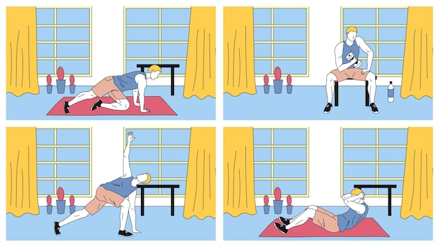 Conceito de fitness, saúde e esporte ativo. jovem, levando um estilo de vida saudável. personagem exercitando-se no ginásio ou em casa fazendo exercícios. estilo simples de contorno linear dos desenhos animados. ilustração vetorial.
