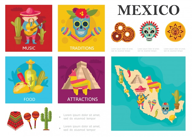 Conceito de flat travel to mexico com comida tradicional mexicana, locais famosos, música e tradições culturais