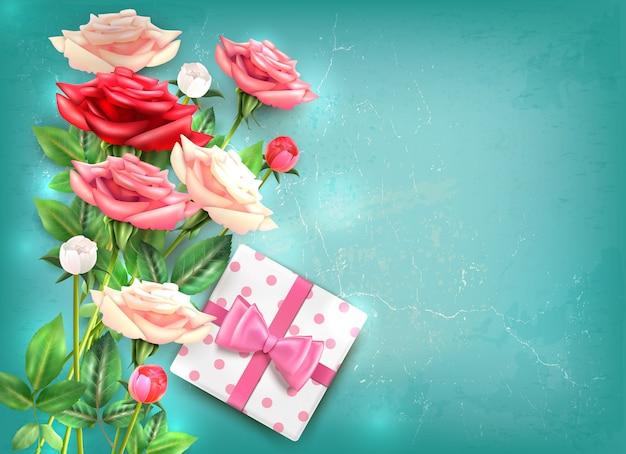Conceito de flatlay de dia das mães com lindo buquê de rosas e presente com ilustração grande laço rosa