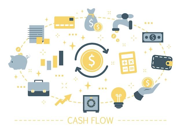 Conceito de fluxo de caixa. ideia de crescimento financeiro