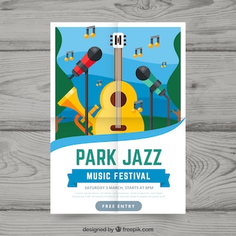 Conceito de flyer para festival de música de jazz