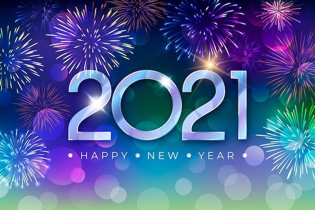 Conceito de fogos de artifício de ano novo de 2021
