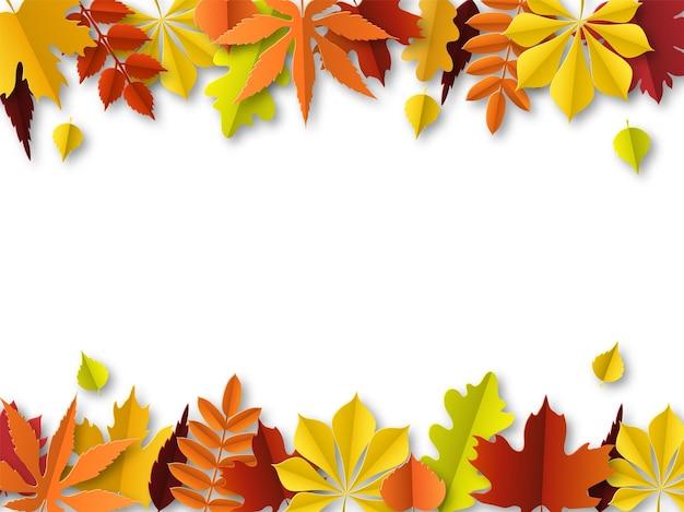 Conceito de folhas de outono. fronteira de outono, quadro de corte de papel de folhas verdes, laranja e vermelhas. decoração de folhagem dourada de ação de graças. elementos botânicos sazonais vetoriais fundo abstrato com espaço de cópia
