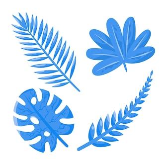 Conceito de folhas tropicais monocromáticas